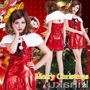 【クリスマスコスプレ】白いポレロ サンタコスプレ☆9408 - 拡大画像