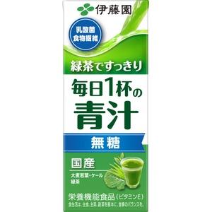 【ケース販売】伊藤園 緑茶ですっきり 毎日1杯の青汁(無糖) 紙パック 200ml×【48本セット】 - 拡大画像