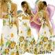 ドレス シフォン花柄プリーツロングドレス イエロー - 縮小画像1