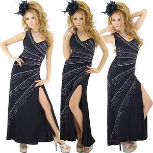 ドレス セクシースリットきらきらロングドレス 黒 - 拡大画像