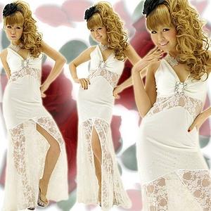 ドレス 透けレース切替ロングドレス 白 - 拡大画像