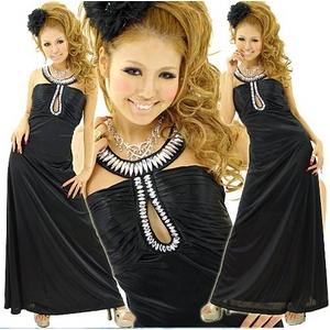 ドレス 胸元ビーズストレッチサテンロングドレス 黒 - 拡大画像