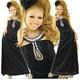 ドレス 胸元ビーズストレッチサテンロングドレス 黒 - 縮小画像1