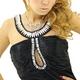ドレス 胸元ビーズストレッチサテンロングドレス 黒 - 縮小画像2