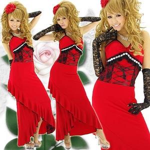 ドレス 配色レーススピンドルロングドレス アカ - 拡大画像