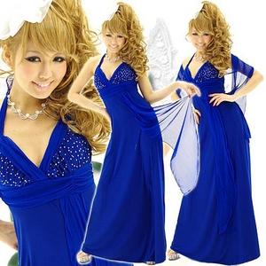 ドレス 胸元スタッツショール付きロングドレス ロイヤルブルー - 拡大画像