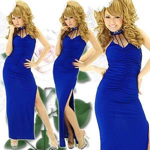 ドレス セクシースリットギャザーロングドレス ロイヤルブルー - 拡大画像