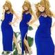 ドレス セクシースリットギャザーロングドレス ロイヤルブルー - 縮小画像1