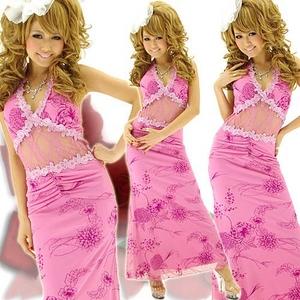 ロングドレス お腹透けレース ラメ ピンク - 拡大画像