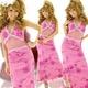 ロングドレス お腹透けレース ラメ ピンク - 縮小画像1