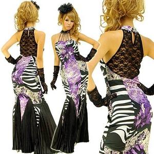 ロングドレス 背中セクシーレース ラインストーン付き パープル - 拡大画像