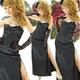 ロングドレス セクシースリットサテン 黒 - 縮小画像1