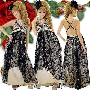 キャバドレス ロングドレス ローズラメフロッキー&ビッジュドレス ゴールド - 拡大画像