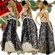 キャバドレス ロングドレス ローズラメフロッキー&ビッジュドレス ゴールド - 縮小画像1