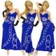 キャバドレス ロングドレス 【ROSE&チェーン】ストレッチ ロイヤルブルー - 縮小画像1
