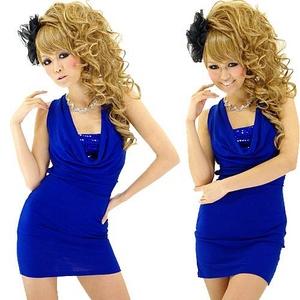 キャバドレス ミニドレス スパンコール魅せブラ バックゴールドチェーンミニワンピース ロイヤルブルー - 拡大画像