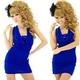 キャバドレス ミニドレス スパンコール魅せブラ バックゴールドチェーンミニワンピース ロイヤルブルー - 縮小画像1
