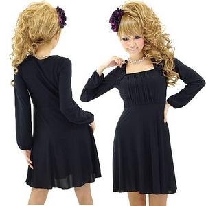 二次会ドレス ミニドレス シンプルブラック ミニワンピース 黒 - 拡大画像