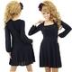 二次会ドレス ミニドレス シンプルブラック ミニワンピース 黒 - 縮小画像1