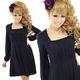 二次会ドレス ミニドレス シンプルブラック ミニワンピース 黒 - 縮小画像2