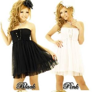 キャバ 嬢 ドレス ベアトップ2段フリル 2WAYスピンドル ミニドレス 黒 - 拡大画像