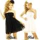 キャバ 嬢 ドレス ベアトップ2段フリル 2WAYスピンドル ミニドレス 黒 - 縮小画像1
