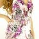 キャバ ドレス 放射スパンコールクリアビジュ流れるフラワーペイズリー柄サテンプリーツロングドレス パープル  - 縮小画像3