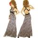 キャバ ドレス リングバックルサイド背中ガッツリ魅せレオパードサテンロングドレス パープル - 縮小画像1