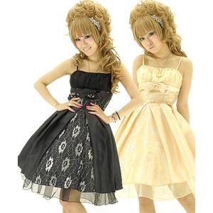 キャバ ドレス フロントリボン銀糸華チュール前開きタフタ姫ミディドレス 黒 - 拡大画像