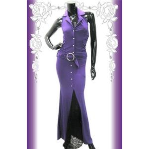 キャバ ドレス レーススリット入りウエストベルト付 シャツ風ドレス パープル - 拡大画像