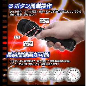 【小型カメラ】フラッシュライト型カメラ(匠ブランド)『Flash-One』(フラッシュワン) h03