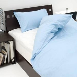 15色から選べる BOXシーツ(ベッドカバー)クィーン インディゴ 綿100% 日本製 - 拡大画像