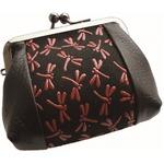 鹿革印傳本漆(トンボ柄)手の平がま口財布 (ブラック×レッド)