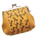 鹿革印傳本漆(トンボ柄)手の平がま口財布 (イエロー×ブラック)