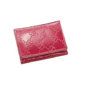 おしゃれnaクローバー 牛革コンパクト財布  ピンク - 拡大画像