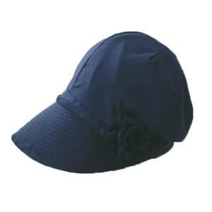 風と太陽に負けない 小顔美人帽 ブラック - 拡大画像
