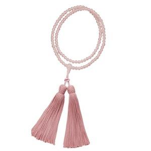 人気の天然石を使った二輪の念珠 天然石 二輪(ふたわ)念珠 ピンク(ローズクオーツ) - 拡大画像