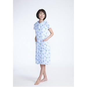 フード付きタオル地ドレス ブルー