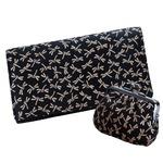 鹿革印傳本漆(トンボ柄) 長財布(小がま付) ブラック×ベージュ