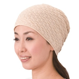 コットンニット帽子 ベージュ - 拡大画像