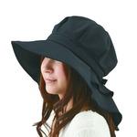 首筋まですっぽりロングケープ帽子 ブラック
