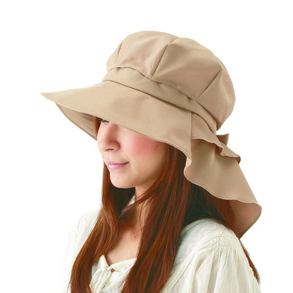 首筋まですっぽりロングケープ帽子 ベージュ