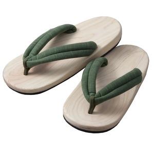 足への衝撃を和らげる 国産(日田)NEW檜サンダル(メンズ/グリーン) - 拡大画像