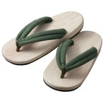 足への衝撃を和らげる 国産(日田)NEW檜サンダル(メンズ/グリーン)
