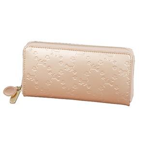 ねこ型押し牛革 コインスルー財布 ピンクゴールド - 拡大画像