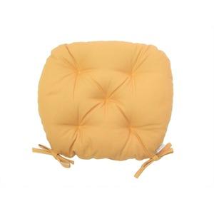 バテイ型 シートクッション/座布団 【イエロー】 厚み6cm 紐付き 洗える 日本製 - 拡大画像
