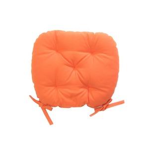 バテイ型 シートクッション/座布団 【オレンジ】 厚み6cm 紐付き 洗える 日本製 - 拡大画像