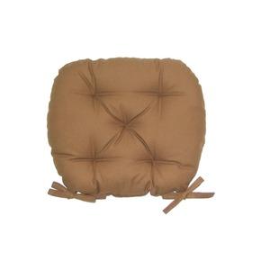 バテイ型 シートクッション/座布団 【ブラウン】 厚み6cm 紐付き 洗える 日本製 - 拡大画像