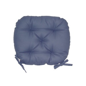 バテイ型 シートクッション/座布団 【ブルー】 厚み6cm 紐付き 洗える 日本製 - 拡大画像