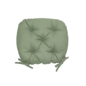 バテイ型 シートクッション/座布団 【モスグリーン】 厚み6cm 紐付き 洗える 日本製 - 拡大画像